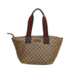 ebdba24d6 Vintage Authentic Gucci Brown Beige Canvas Fabric GG Web Tote Italy LARGE