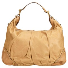 Vintage Authentic Gucci Brown Beige Leather Jockey Hobo NA w/ Dust Bag LARGE