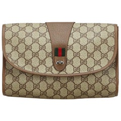 Vintage Authentic Gucci Brown Beige PVC Plastic GG Web Clutch Bag Italy SMALL