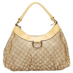 Vintage Authentic Gucci Brown Canvas Fabric GG Abbey D Ring Handbag Italy LARGE