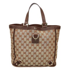 Vintage Authentic Gucci Brown Canvas Fabric GG Abbey Tote Bag ITALY w LARGE