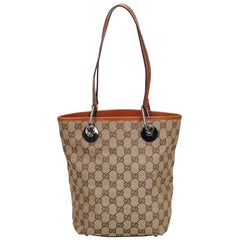 Vintage Authentic Gucci Brown Canvas Fabric GG Eclipse Tote Bag ITALY w LARGE