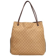 Vintage Authentic Gucci Brown Canvas Fabric GG Tote Bag ITALY w Dust Bag LARGE
