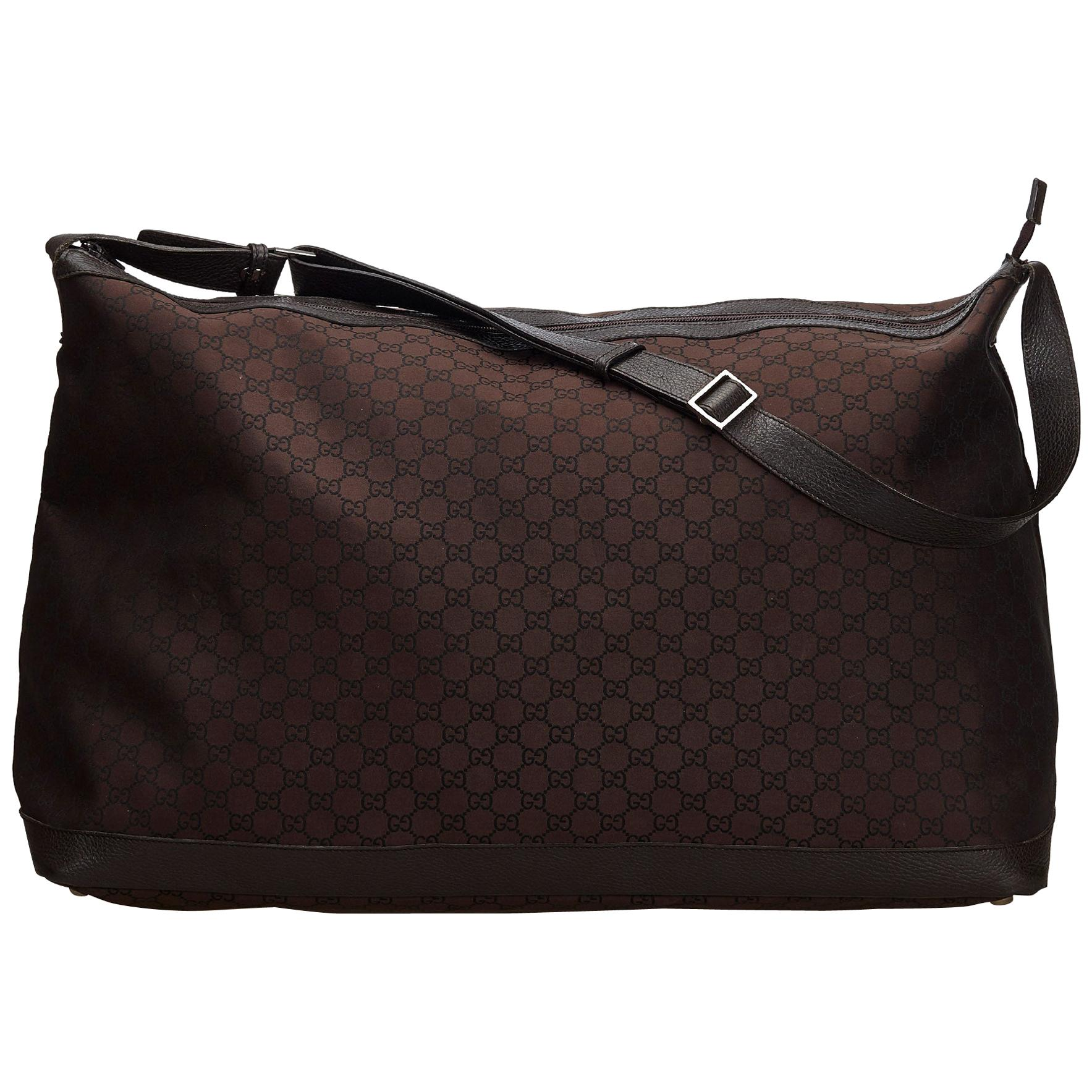 325557e5c Rare Gucci Black Monogram Canvas and Leather Train Case Doctors Bag Vanity  1970s For Sale at 1stdibs