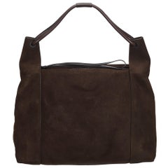 Vintage Authentic Gucci Brown Dark Brown Suede Leather Shoulder Bag Italy LARGE
