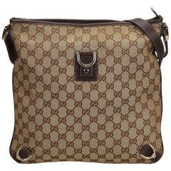 386b0d272 Vintage Authentic Gucci Brown GG Abbey Crossbody Bag Italy w Dust Bag MEDIUM