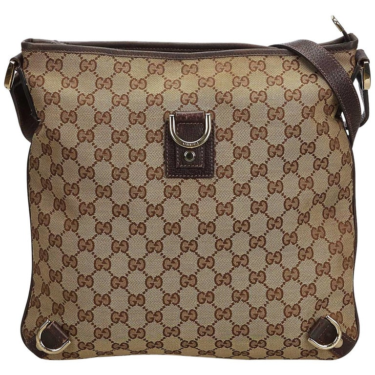 2ca7aebb2 Vintage Authentic Gucci Brown GG Abbey Crossbody Bag Italy w Dust Bag  MEDIUM For Sale