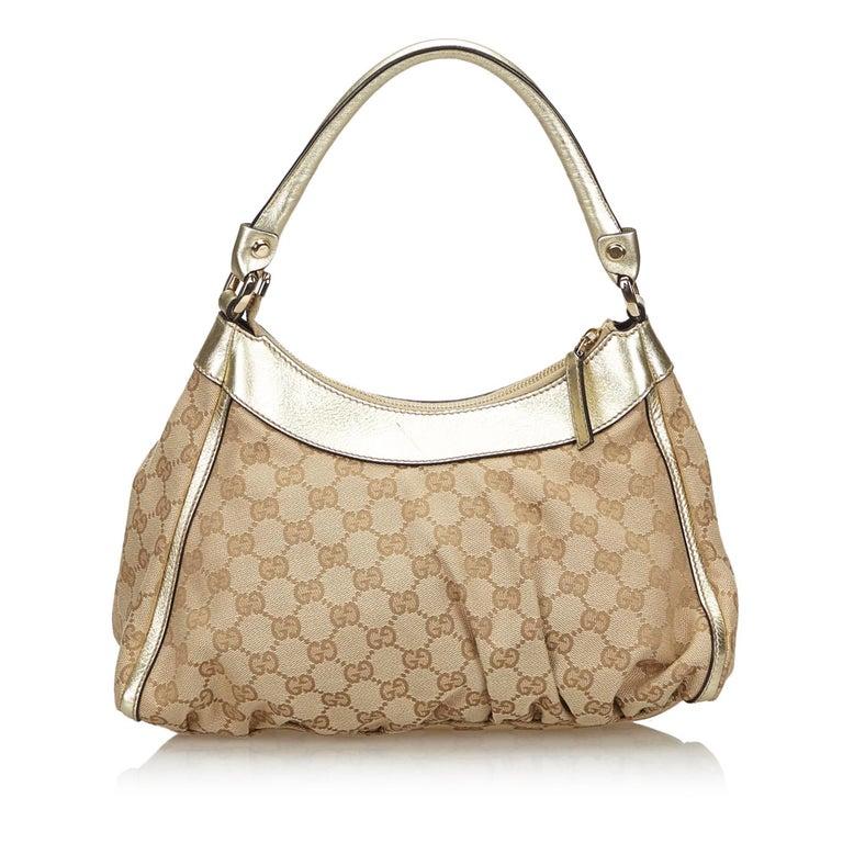 Beige Vintage Authentic Gucci Brown GG Abbey D Ring Handbag Italy w Dust Bag MEDIUM