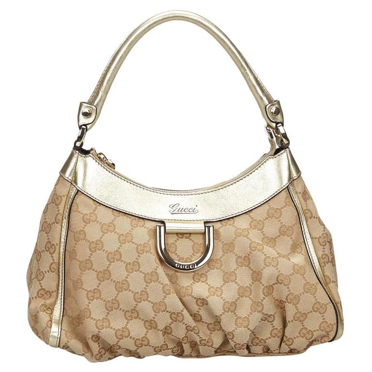 Vintage Authentic Gucci Brown GG Abbey D Ring Handbag Italy w Dust Bag MEDIUM