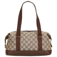 Vintage Authentic Gucci Brown GG Boston Bag Italy w Dust Bag MEDIUM
