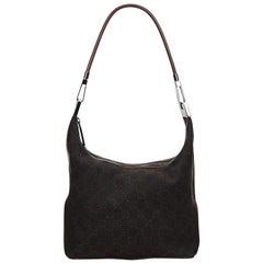 Vintage Authentic Gucci Brown GG Shoulder Bag Italy w Dust Bag MEDIUM