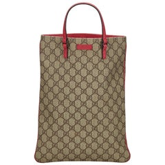 Vintage Authentic Gucci Brown GG Supreme Tote Bag Italy LARGE