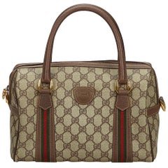 0cd961cc9906ca Vintage Authentic Gucci Brown GG Supreme Web Boston Bag Italy MEDIUM