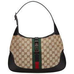 Vintage Authentic Gucci Brown GG Web Jackie Shoulder Bag Italy MEDIUM