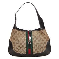 Vintage Authentic Gucci Brown GG Web Jackie Shoulder Bag ITALY w MEDIUM