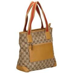 Vintage Authentic Gucci Brown GG Web Shoulder Bag Italy w Dust Bag LARGE