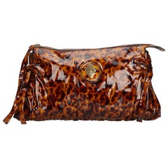 Vintage Authentic Gucci Brown Hysteria Clutch Bag Italy w Dust Bag SMALL