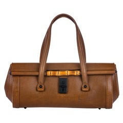 Vintage Authentic Gucci Brown Leather Bamboo Bullet Handbag ITALY w LARGE