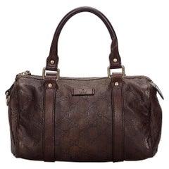 Vintage Authentic Gucci Brown Leather Guccissima Joy Boston Bag ITALY MEDIUM