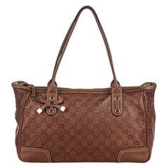 Vintage Authentic Gucci Brown Leather Guccissima Princy Handbag Italy w MEDIUM