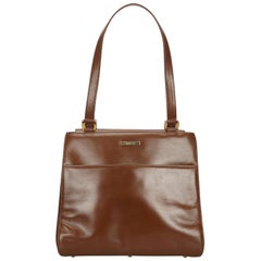 Vintage Authentic Gucci Brown Leather Tote Bag Italy LARGE