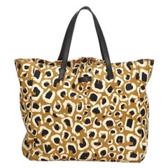 Vintage Authentic Gucci Brown Leopard Printed Tote Bag Italy w Dust Bag LARGE