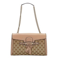 Vintage Authentic Gucci Brown Medium Emily Shoulder Bag ITALY w MEDIUM