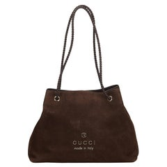 Vintage Authentic Gucci Brown Nubuck Leather Tote Bag Italy w Dust Bag LARGE