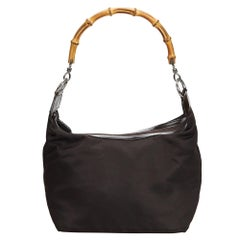 Vintage Authentic Gucci Brown Nylon Fabric Bamboo Handbag Italy SMALL