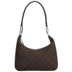 Vintage Authentic Gucci Brown Nylon Fabric GG Shoulder Bag Italy MEDIUM