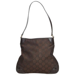 Vintage Authentic Gucci Brown Nylon Fabric GG Shoulder Bag Italy MEDIUM