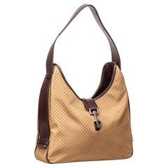 Vintage Authentic Gucci Brown Nylon Fabric Micro GG Shoulder Bag Italy MINI