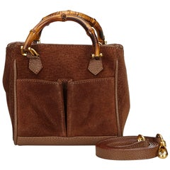 Vintage Authentic Gucci Brown Suede Leather Bamboo Satchel Italy SMALL