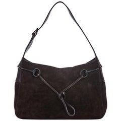 Vintage Authentic Gucci Brown Suede Leather Horsebit Shoulder Bag ITALY MEDIUM