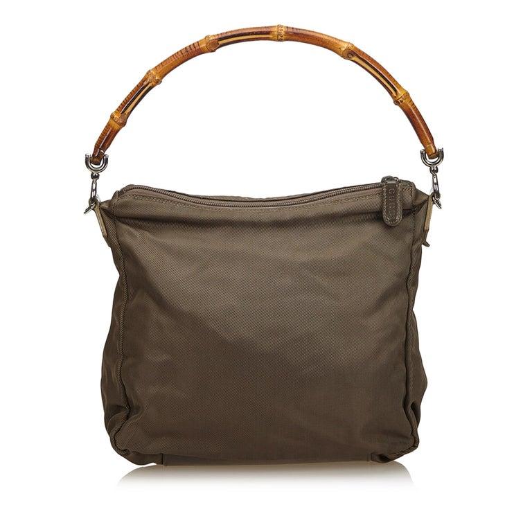 Black Vintage Authentic Gucci Dark Nylon Fabric Bamboo Handbag Italy Dust Bag MEDIUM  For Sale