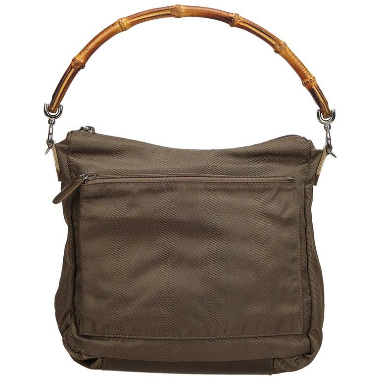 Vintage Authentic Gucci Dark Nylon Fabric Bamboo Handbag Italy Dust Bag MEDIUM  For Sale