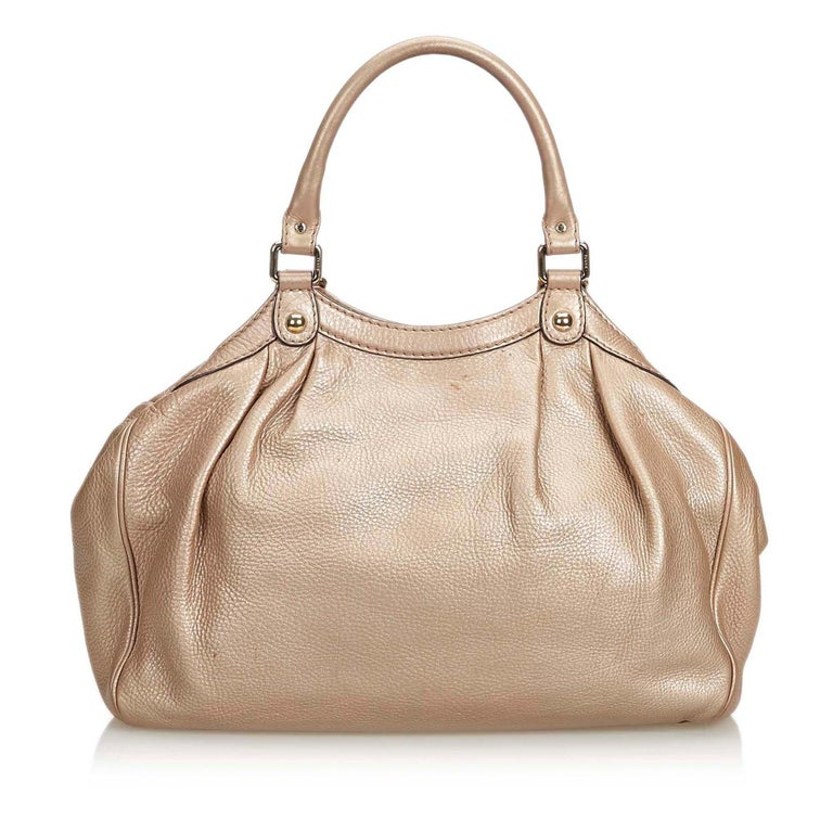 Vintage Authentic Gucci Gold Leather Sukey Hobo Bag Italy MEDIUM  In Good Condition For Sale In Orlando, FL
