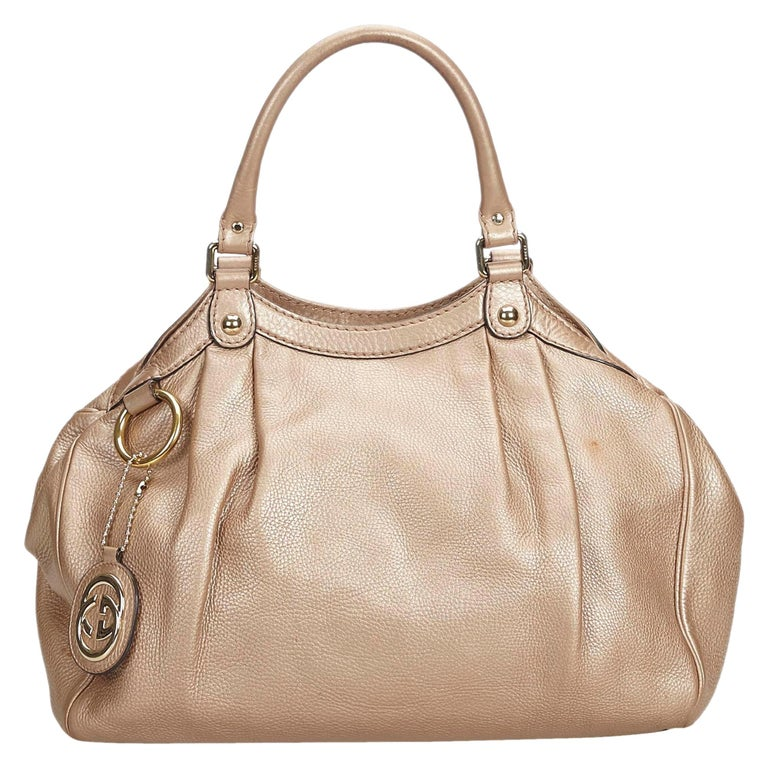 Vintage Authentic Gucci Gold Leather Sukey Hobo Bag Italy MEDIUM  For Sale