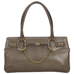 Vintage Authentic Gucci Gray Leather Horsebit Handbag Italy w Dust Bag LARGE