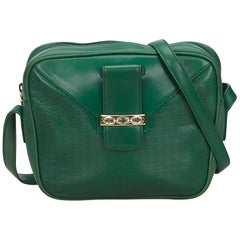 Vintage Authentic Gucci Green Leather Crossbody Bag Italy w/ Dust Bag SMALL