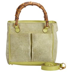 Vintage Authentic Gucci Green Suede Leather Bamboo Satchel Italy SMALL