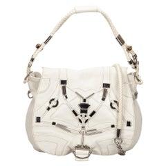 Vintage Authentic Gucci Leather Embellished Techno Horsebit Flap Bag LARGE