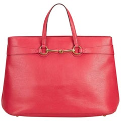 Vintage Authentic Gucci Leather Horsebit Bright Bit Tote Italy w Dust Bag LARGE