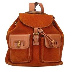 Vintage Authentic Gucci Orange Bamboo Drawstring Backpack Italy MEDIUM