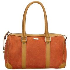Vintage Authentic Gucci Orange Light Suede Leather Boston Bag Italy MEDIUM