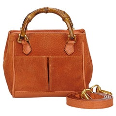 Vintage Authentic Gucci Orange Suede Leather Bamboo Satchel Italy SMALL