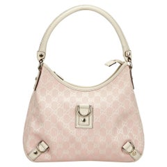 767903245 Vintage Authentic Gucci Pink GG Abbey Shoulder Bag Italy w Dust Bag MEDIUM