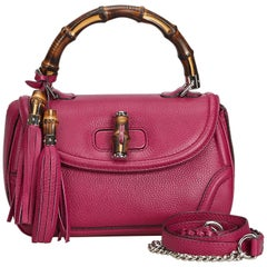 Vintage Authentic Gucci Pink Leather New Bamboo Satchel Italy w Dust Bag MEDIUM