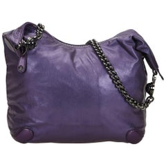 Vintage Authentic Gucci Purple Leather Galaxy Chain Hobo Bag Italy LARGE