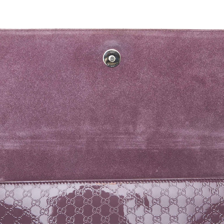Vintage Authentic Gucci Purple Microguccissima Broadway Clutch Italy SMALL  For Sale 3